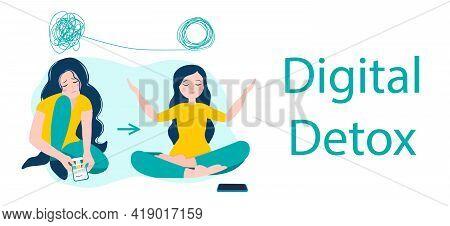 Digital Detox And Meditation. Woman Meditating In Lotus Position. Vector Illustration In Flat Style.