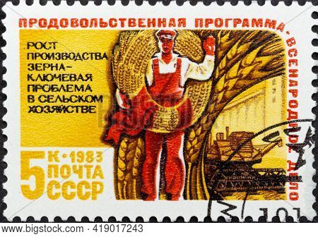 Ussr - Circa 1983: Postage Stamp 'grain Production' Printed In Ussr. Series: 'food Program Of The Us