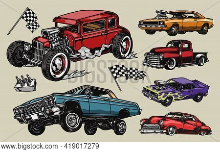 Custom Cars Colorful Vintage Composition With Classic Retro Car Pickup Truck Hot Rod Lowrider Muscle