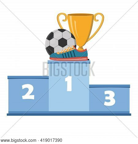 Sports Shoes Sneakers On The Background Of A Soccer Ball And A Gold Cup On The Podium Of The Award V