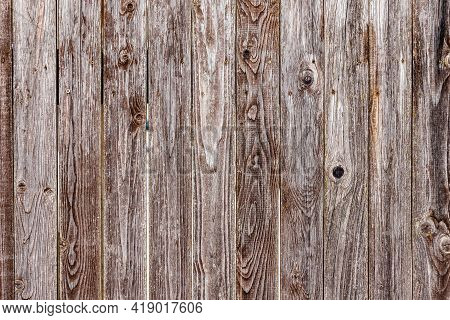 Old Ancient Bright Tanned Unevenly Painted Vertical Wooden Plank Wall With Painted Nails And Cracks