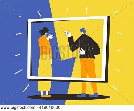 Conflict. Adult Man Vs Woman Concept. Pair Of People During Argument. Quarrel Concept. Bad Relations