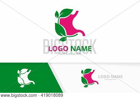 Vector Gastrointestinal Tract Logotype Design. Eco Stomach And Leaves Logo.