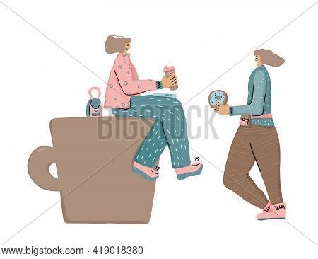 Coffee Break Concept. Two Cute Girls With Huge Coffe Cup. Vector Color Illustration.