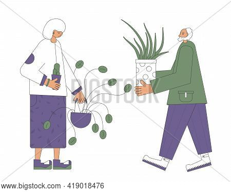 Mature Plants Lovers. Senior Pair Spend Free Time Together. Elderly Man And Woman Wearing In Casual