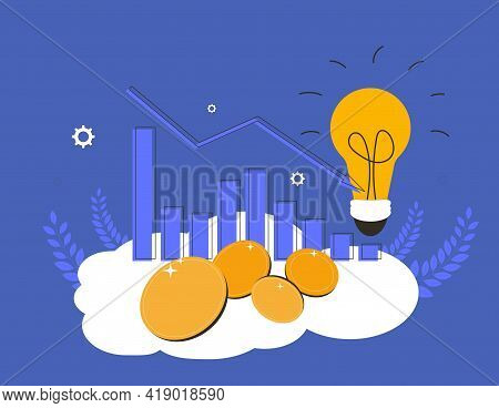 Stock Market Crash. Collapsing Stock Prices. Vector Flat Color Illustration.