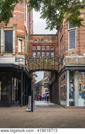 Carlisle, Cumbria, Uk, August 2020 - Entrance To St Cuthberts Lane In The City Of Carlisle, Cumbria,