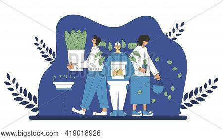 Plant Lovers Club. Smiling Persons Wearing In Cozy Clothes Holding In Hands Indoor Flower. Plants Ps