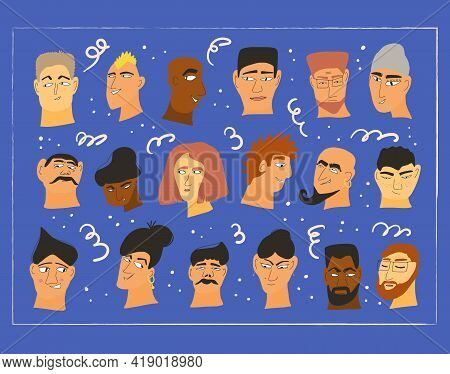 Set Of Vector Avatar Icons. Faces Of Different Persons. Human Heads With Frame Banner. Vector Flat I