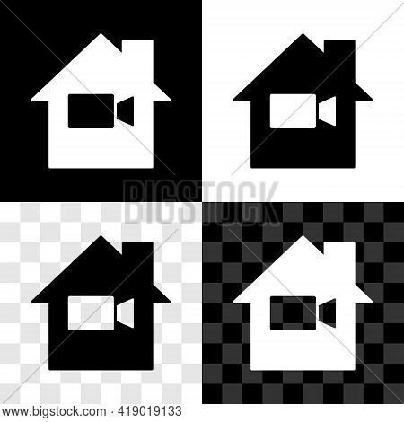 Set Video Camera Off In Home Icon Isolated On Black And White, Transparent Background. No Video. Vec