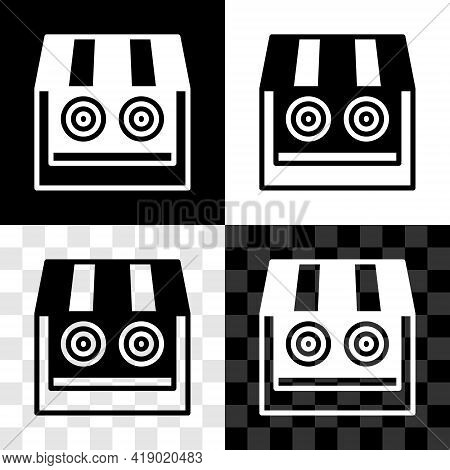 Set Shooting Gallery Icon Isolated On Black And White, Transparent Background. Shooting Range. Vecto