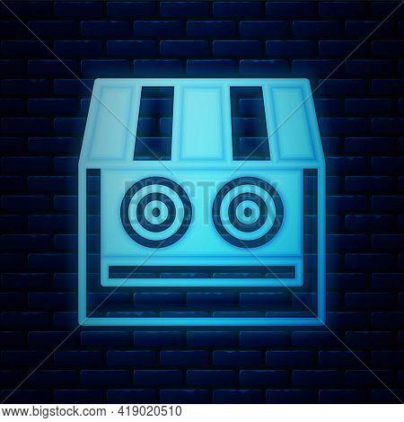 Glowing Neon Shooting Gallery Icon Isolated On Brick Wall Background. Shooting Range. Vector