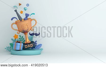 Happy Father's Day Decoration Background With Trophy Gift Box Necktie Leaves Mustache, Copy Space Te