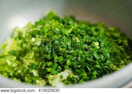 Making Lettuce Salad For Dinner, A Person Makes A Salad,