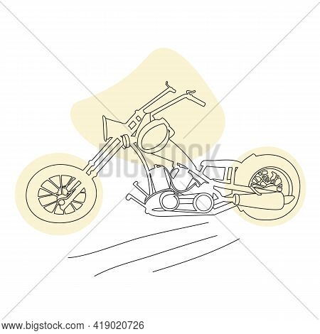 Vintage Motorcycle, Two-wheeled Motorbike. Hand-drawn Monochrome Vector, Lineart, Retro Style. Sport