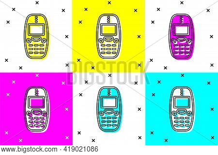 Set Old Vintage Keypad Mobile Phone Icon Isolated On Color Background. Retro Cellphone Device. Vinta