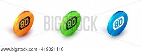 Isometric 80s Retro Icon Isolated On White Background. Eighties Poster. Circle Button. Vector