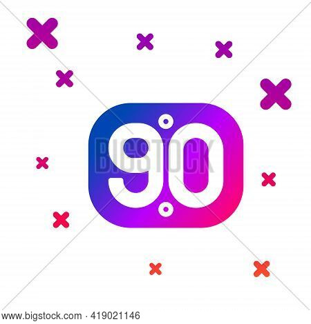 Color 90s Retro Icon Isolated On White Background. Nineties Poster. Gradient Random Dynamic Shapes.