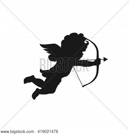 Cupid Silhouette Isolate On White Background. Valentine's Day Concept. Cupid Shooting Arrow. Angel S