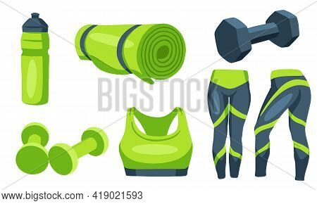Fitness Items. Dumbbells For Sports. Clothes For Training, A Mat, A Bottle For Water. Health. Cartoo