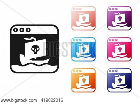 Black Internet Piracy Icon Isolated On White Background. Online Piracy. Cyberspace Crime With File D