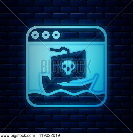 Glowing Neon Internet Piracy Icon Isolated On Brick Wall Background. Online Piracy. Cyberspace Crime