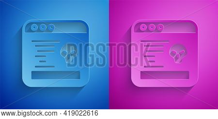Paper Cut System Bug Concept Icon Isolated On Blue And Purple Background. Code Bug Concept. Bug In T