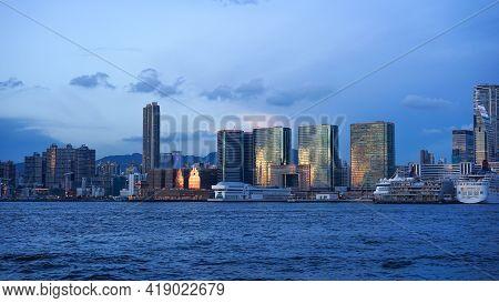 Hong Kong - June 25, 2016: Sunset View In Hong Kong, Kow Loon District, Central District In Hong Kon