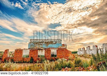 Beautiful Summer Landscape With Amazing Sky At Sunrise. Ruins Of A Ruined Building