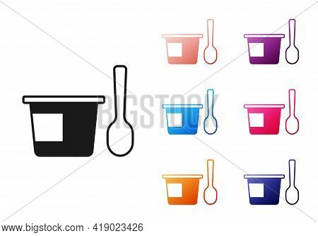 Black Yogurt Container With Spoon Icon Isolated On White Background. Yogurt In Plastic Cup. Set Icon