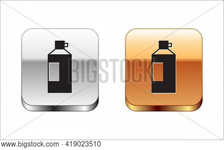 Black Whipped Cream In An Aerosol Can Icon Isolated On White Background. Sweet Dairy Product. Milk P