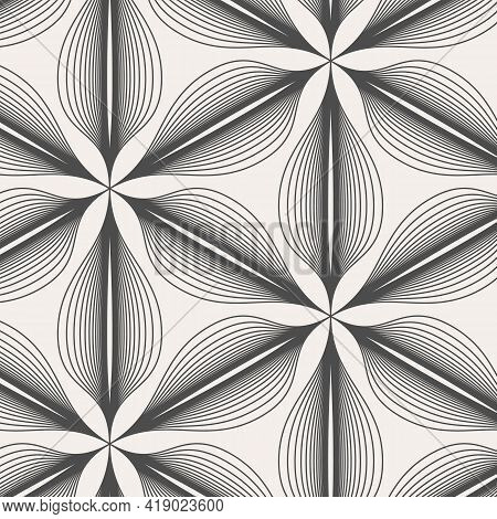 Abstract Linear Petal Flower. Vector Pattern.pattern Is On Swatches Panel