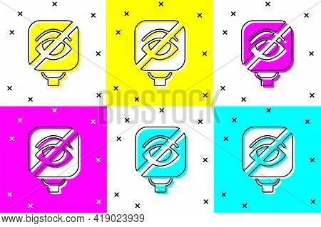 Set Blindness Icon Isolated On Color Background. Blind Sign. Vector