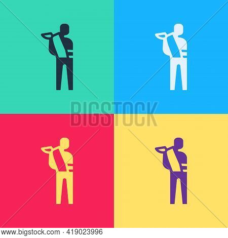 Pop Art Human Broken Arm Icon Isolated On Color Background. Injured Man In Bandage. Vector