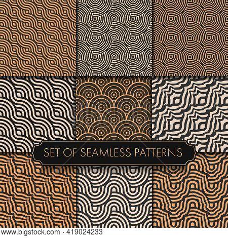 Seamless Line Graphic Black Decor Pattern. Repeat Black Vector White Tile Texture. Repeat White Vect