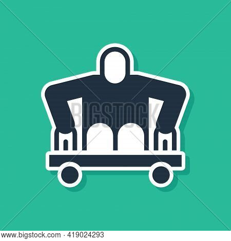 Blue Man Without Legs Sitting Wheelchair Icon Isolated On Green Background. Disability Concept. Guy