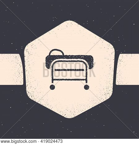 Grunge Stretcher Icon Isolated On Grey Background. Patient Hospital Medical Stretcher. Monochrome Vi