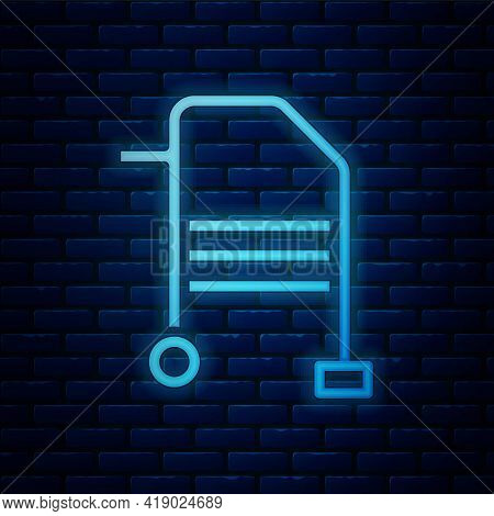 Glowing Neon Walker For Disabled Person Icon Isolated On Brick Wall Background. Vector
