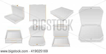 Set Of Various Pizza Box Cardboard Or Mock Up Template Blank Pizza Box Or Realistic Cardboard Pizza