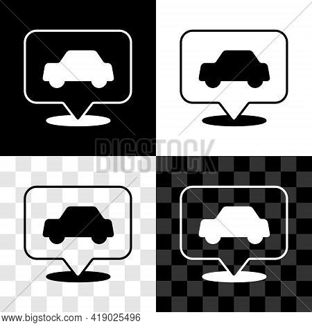 Set Car Service Icon Isolated On Black And White, Transparent Background. Auto Mechanic Service. Rep