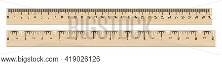 Realistic Wood Rulers 30 Centimeters And 12 Inches. 3d Realistic Vector Illustration Isolated On Whi