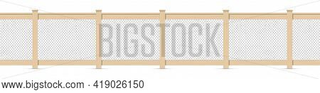 Wooden Fence With A Chain Mesh Fencing. Wood Garden Fence With Metal Wire Chain Link Fence. Horse Or