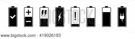 Battery Charging Icons. Smartphone Charge Level, Battery Percentage Status, Full, Low And Empty Accu