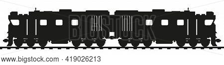 Double Headed Diesel Locomotive. Flat Style Vector Illustration Isolated On White Background.