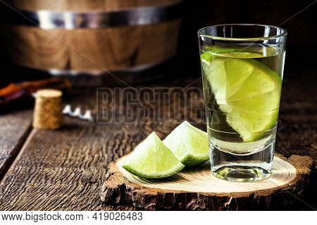 Silver Tequila, Typical Mexican Distilled Drink, Served With Salt