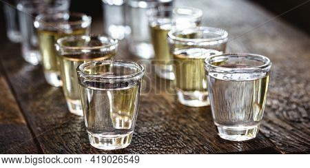Glasses Of Tequila, Gold Tequila And Silver Tequila, Typical Mexican Drink