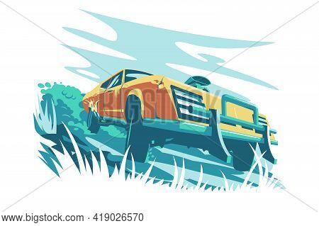 Wild Orange Fast Car Vector Illustration. Cool
