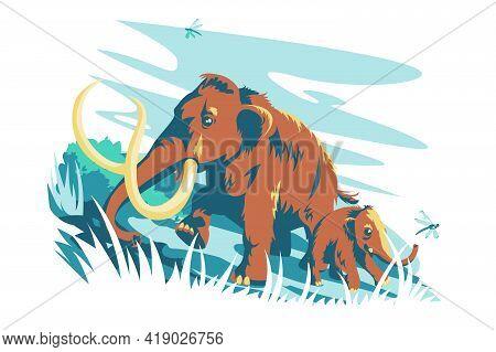 Brown Mammal Animal Character Vector Illustration. Big