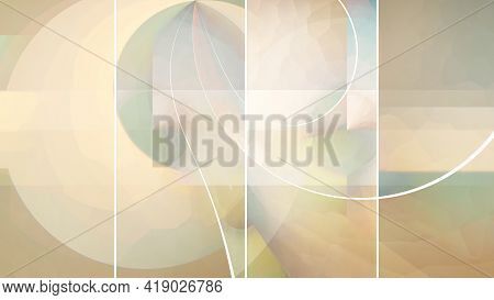 Beautiful Abstract Background Lines Geometry Mosaic Warm Beige Orange Green Pastel Colors. Concept O