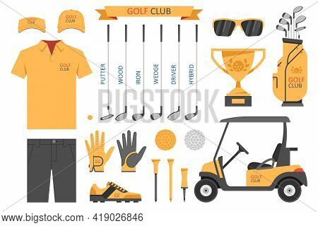 Golf Club, Golf. Golfer Sports Equipment. Flat Style. Isolated On White Background